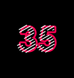 35 years anniversary line design logo template vector
