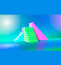 3d rendering green blue pink stairs steps vector