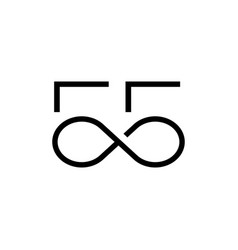55 number infinity logo icon vector image