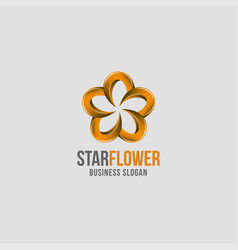 abstract 3d style star flower logo vector image