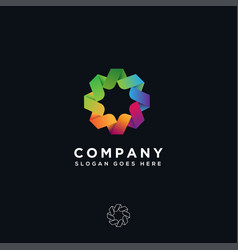 abstract colorful unity corporate logo icon vector image