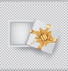 an open gift box with a gold bow isolated on a vector image