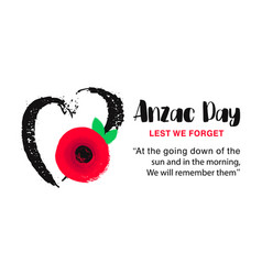 Anzac day poster lest we forget hand vector