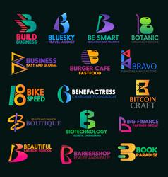 B letter icons creative corporate identity design vector