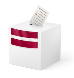 Ballot box with voting paper Latvia vector image