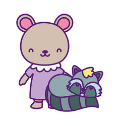 bashower cute little bear with dress and vector image