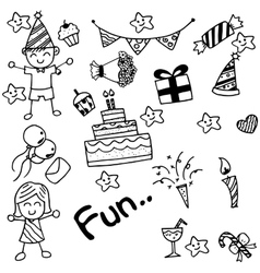 Birthday doodle for kids vector