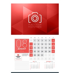 Calendar for 2016 Year August Design Clean vector