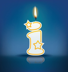 Candle letter i with flame vector image