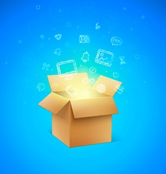 Cardboard Box with Icons vector