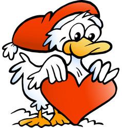 Cartoon an happy christmas duck vector