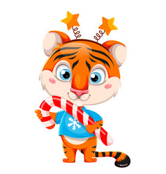 Cartoon character tiger holding big candy cane vector