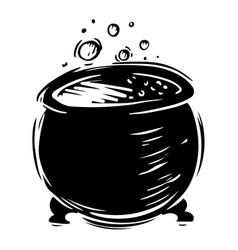 Cauldron with bubbling liquid hand drawn vector