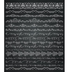 Chalk drawing borders and frames dividers swirls vector