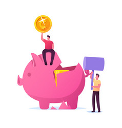 characters saving money finance problems concept vector image