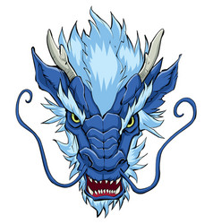 Chinese dragon head blue vector