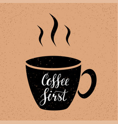 coffee first hand written lettering vector image