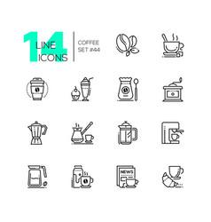 coffee set - line design style icons vector image