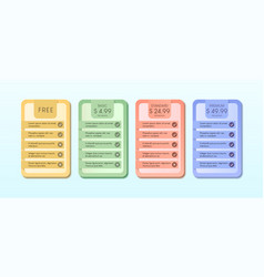 Colorful pricing table with four options vector