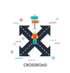 crossroad flat concept vector image