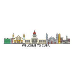 cuba outline skyline cuban flat thin line icons vector image