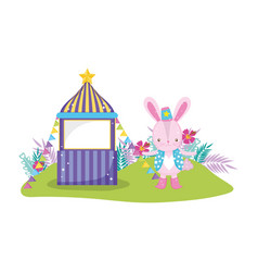 Cute circus rabbit with layer and kiosk vector