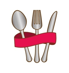 Cutlery with fucsia elastic icon image vector