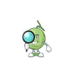 detective melon cartoon mascot on white background vector image