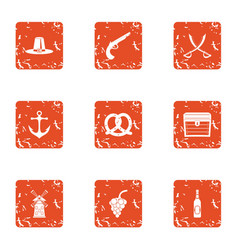 Digestive system icons set grunge style vector