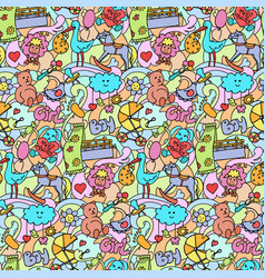 Doodle baby colorful seamless pattern vector