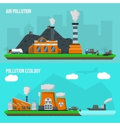 Environmental pollution banner set vector