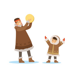 Eskimo inuit chukchi kids in traditional costume vector