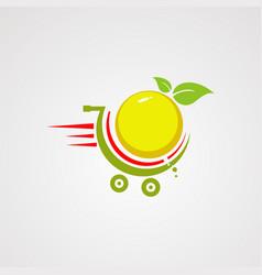 fast orange fruit on trolly logo icon element vector image