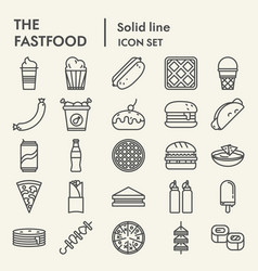 fastfood line icon set snack symbols collection vector image