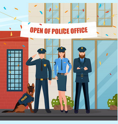 Festive police people composition vector