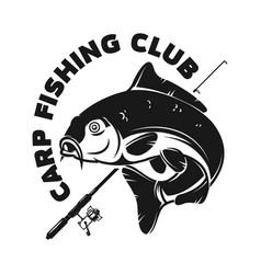 fishing camp emblem template with carp fish vector image