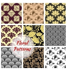 Floral ornate seamless patterns set vector