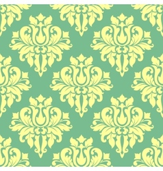 Floral yellow damask seamless pattern vector
