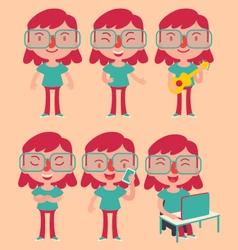 Geek Girl Wearing Glasses Set vector image