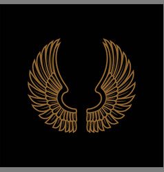 gold bird wings logo golden angel winged business vector image