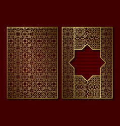 Golden vintage book cover template face and back vector