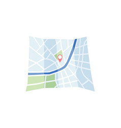gps navigation satellite system - map with route vector image