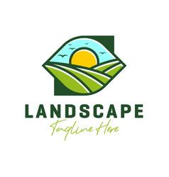green desert landscape logo design vector image