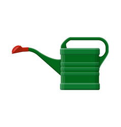 Green plastic watering can isolated on white vector