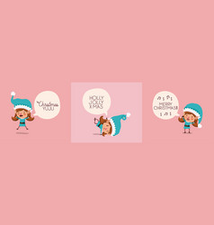group of girl santa helpers with speech bubbles vector image