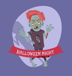 halloween night placard on vector image