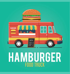 hamburger food truck vector image
