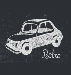 Hand drawn retro car card vector