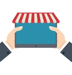 Hands holding tablet shopping online vector
