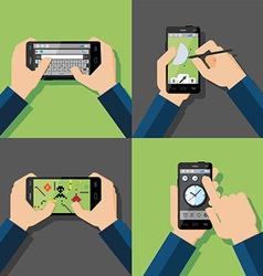 Hands holding touchscreen smartphones vector